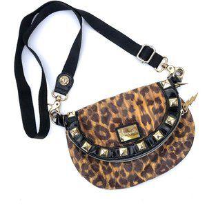 Betsey Johnson Leopard Print Black Studded Purse
